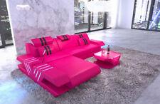 Couch VENEDIG L Form Leder Design Sofa Eckcouch Ottomane LED + USB pink-schwarz