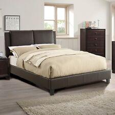 Bedroom Modern Brown Faux Leather Bedroom Set Queen Full Cal King Est King Bed