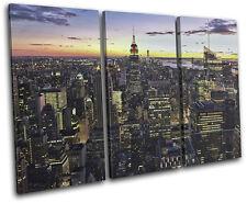New York Skyline City TREBLE CANVAS WALL ART Picture Print