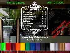 CUSTOM Storefront Door DECAL Hours Sign bakery cafe bar gym salon florist deli