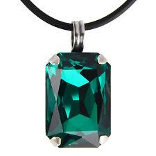 Grevenkämper Halskette Swarovski Kristall Silber Rechteck 26 mm grün Emerald