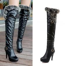 Women Fur Trim Over Knee High Heel Stiletto Thigh High Boots Winter Platform New