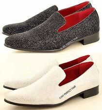 Da Uomo in cuoio foderato SHINY GLITTER PARTY mocassini loafers scarpe in tg 6-12