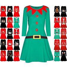 Womens Christmas Xmas Ladies Elf Santa's Little Helper Belt Costume Swing Dress