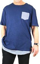 Modisches Herren Long Shirt dunkel blau Gr. 44 - 62 Slim Fit Baumwolle neu 74499