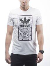 Men's New Adidas Orignals Graphic Logo T-Shirt Top - White - Retro