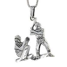 "Sterling Silver Baseball Pendant / Charm, 18"" Italian Box Chain"