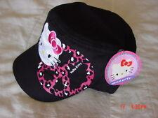 Nwt Girls Juniors Teens Hello Kitty Cadet Style Black Pink Glitter Peace Sign