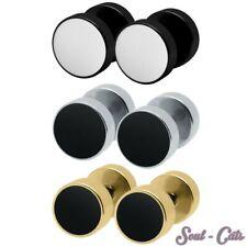 1 Paar Fakeplugs rund gold schwarz silber Piercing Ohrstecker Edelstahl Plugs