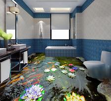 3D Cool River Lotus Fish Floor WallPaper Murals Wall Print Decal 5D AJ WALLPAPER