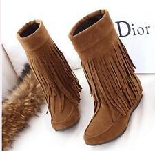 stivali stivaletti scarpe donna tacco 4 grigio simil pelle frange comodi 9380