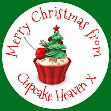 Brillo Personalizado Regalo Navidad Cupcake Navidad Fiesta Hornear Pegatinas cualquier texto