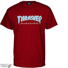 "THRASHER MAGAZINE ""Outlined"" Skateboard T-Shirt CARDINAL S M L or XL Rock Punk"