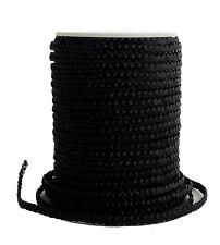 Lederband schwarz 4 mm geflochten, flach, Bolo Lederschnur (2,50€-3,50€/1m)