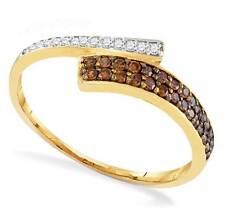 10K Yellow Gold Chocolate Brown & White Diamond Ring Band .24ct Sizes 5 - 10
