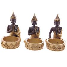 THAI BUDDHA TEALIGHT HOLDERS | Set of 3 | Sitting Meditating Ornaments Figures