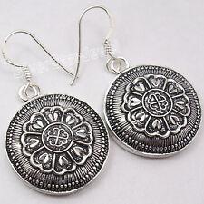 "925 Sterling Plain Silver ETHNIC Dangle Earrings 1.6"" OLD STYLE NEW Jewellery"