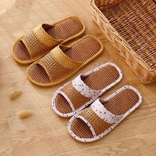 Women Men Summer Rattan Slipper Bamboo Linen Flat Home Indoor Sandals Antiskid
