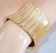 BRACCIALE ORO RIGIDO donna a schiava STRASS elegante cerimonia bracelet 750