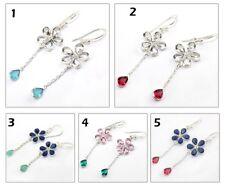 Bezel Hook Chain Earring Jewelry Chalcedony Hydro Quartz Gemstone Silver Plated