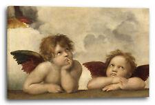 Lein-Wand-Bild Kunstdruck: Raffael Sixtinische Madonna, zwei Engel