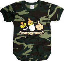 Camouflage Choose Your Weapon  Baby Newborn Infant One Piece Jump Suit Bodysuit
