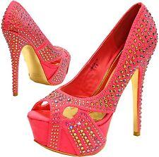 New women's shoes evening stilettos peep toe blink rhinestone prom wedding coral