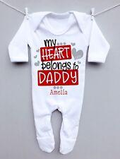 Personalised baby sleepsuit romper grow 1st valentines day heart belong daddy