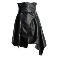 Women Dress Skirt Asymmetric High Waist Faux Leather Zipper Punk Gothic PU