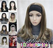 8 colors 3/4 half wig Long Straight women Lady headband wigs