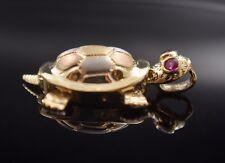 New Lucky Turtle Charm 14k Gold Luck Tortoise Pendant Tortuga Suerte Oro Real