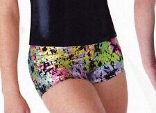 NWOT Axis Booty Shorts Dance Gymnastics Multi Color Foil Print Girls Sz Medium