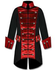 Mens Handmade Black Red Velvet Trim Steampunk Vampire Goth Jacket Pirate Coat