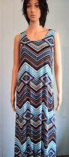 JOSTAR BLUE Abstract Tribal Tank DRESS Long Sleeveless SLINKY Poly Spandex S,M,L