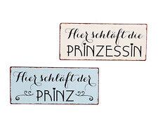 Schild Prinz  Prinzessin Aufhänger Wand Dekoration Wandbild Metall  Spruch