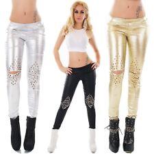 Women's Metallic Studded Cut-Out Leggings - S/M/L