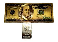 1 TROY OUNCE .999 FINE SILVER BULLION MORGAN BAR BU +1 99.9% 24K GOLD $100 BILL