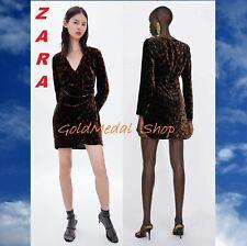 ZARA Leopard Print New Wrap Velvet Mini Dress Sizes: XS; S; M; L