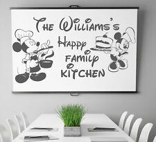Personalised Family Name Kitchen Vinyl Wall Sticker Disney Minnie Mickey Art