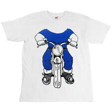 Childrens Kids White Baby Biker Bike Slogan T-Shirt - Boy On Motorcycle Image