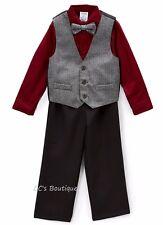 Boys IZOD outfit 3T 5 6 NWT black vest burgundy shirt pants suit Christmas gray