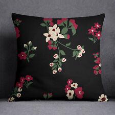 S4Sassy Indian Home Decor Housse de coussin en étui noir pour imprimé floral