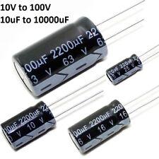 10V 16V 25V 35V 50V 63V 100V Radial Electrolytic Capacitor Range of 10uF-10000uF