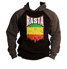 Men's Shredded Rasta Flag Black/Charcoal Raglan Rastafarian Reggae Ganja Hoodie