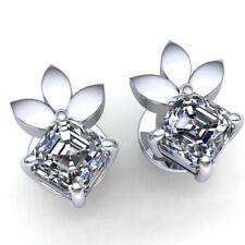 0.25carat Princess Cut Diamond Ladies Flower Solitaire Stud Earrings 18K Gold