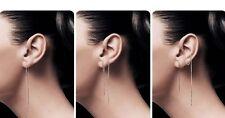Genuine 925 Silver Filled Through Thread Threader Bar Stick Earrings 10 &14 cm
