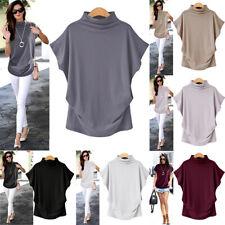 Oversized Women Turtleneck Batwing Short Sleeve Cotton Blouse Tops T Shirt CA