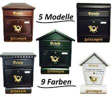 Briefkasten Postkasten mit Zeitungsrolle Wandmontage viele Modelle und Farben !!