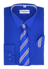 Berlioni Italy Kids Boys Italian Long Sleeve Dress Shirt With Tie & Hanky Blue