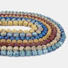 "Matte Metallic Titanium Coated Volcanic Lava Gemstone Round Beads 15.5"" All Size"